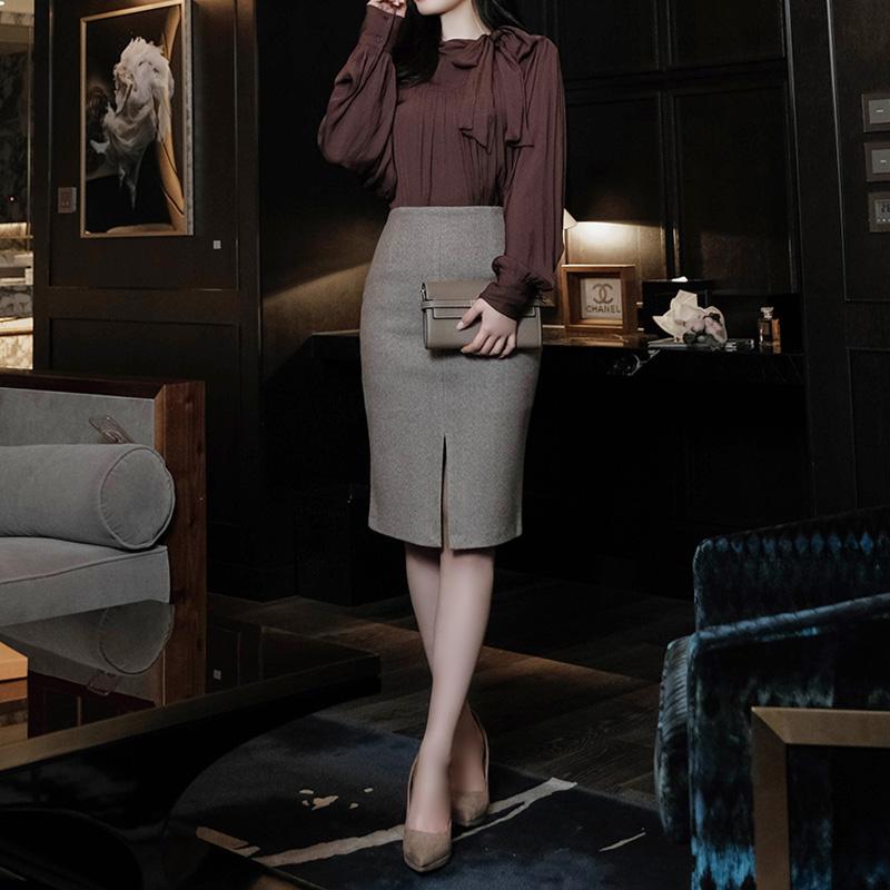 sk3856 편안한 앞트임 디테일의 잔잔한 헤링본 H라인 겨울스커트 skirt