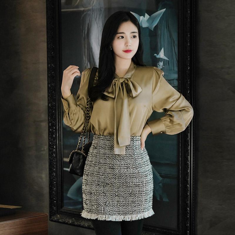 sk3857 블링한 반짝임이 사랑스러운 수술장식의 트위드 미니 스커트 skirt