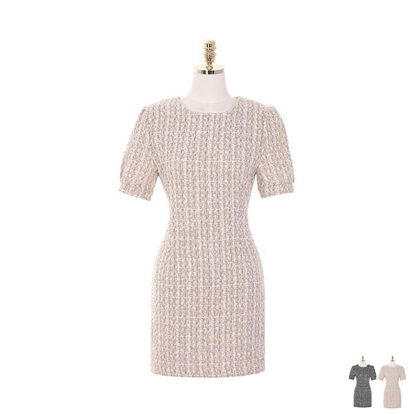 op8193 반짝이는 트위드 소재로 제작된 라운드넥 반팔 미니 드레스 dress