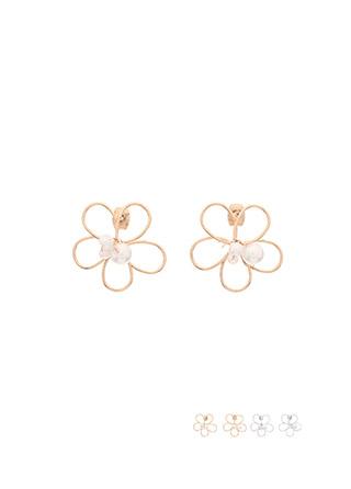 ac4291 러블리한 플라워 쉐입의 진주장식 포인트 이어링 earring