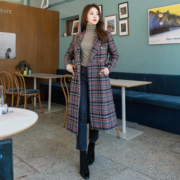 ct1112 트렌디한 믹싱컬러의 트위드 조직감 일자핏 코트 coat