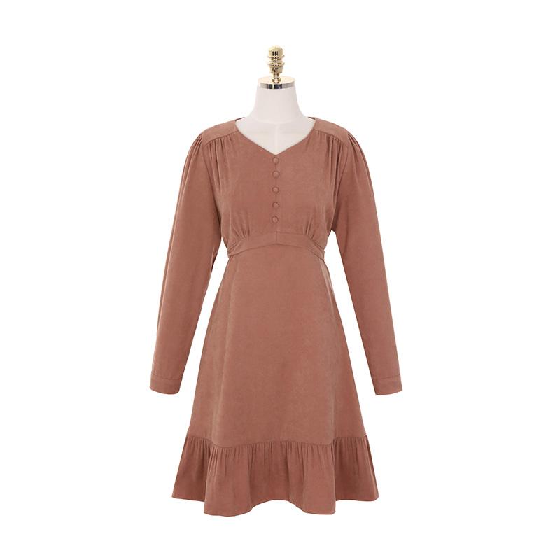 op8206 부드러운 스웨이드 터치감의 셔링 콩단추 포인트 프릴 미디 드레스 dress