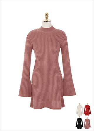 op8279 매력적인 나팔 소매가 달린 반목 니트 A라인 미니 드레스 dress