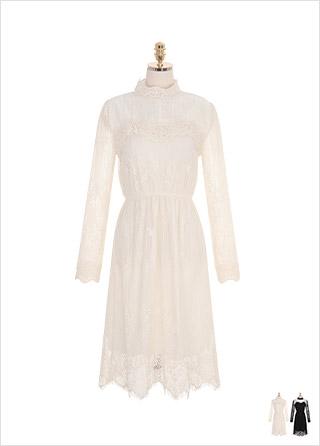 op8224 페미닌한 무드의 하이퀄리티 레이스로 제작된 A라인 롱 원피스 dress