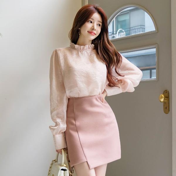 sk3877 예쁜 실루엣을 표현해 줄 울혼방의 언발 H라인스커트 skirt