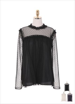 bs4830 로맨틱 감성 가득 담은 시스루 매쉬 소재의 도트 레이스 블라우스 blouse
