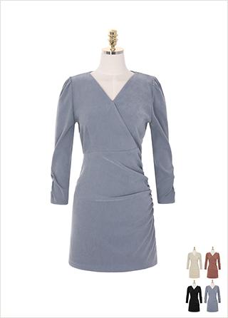 op8284 페미닌한 무드를 선사해 드리는 스웨이드 셔링포인트 미니 드레스 dress