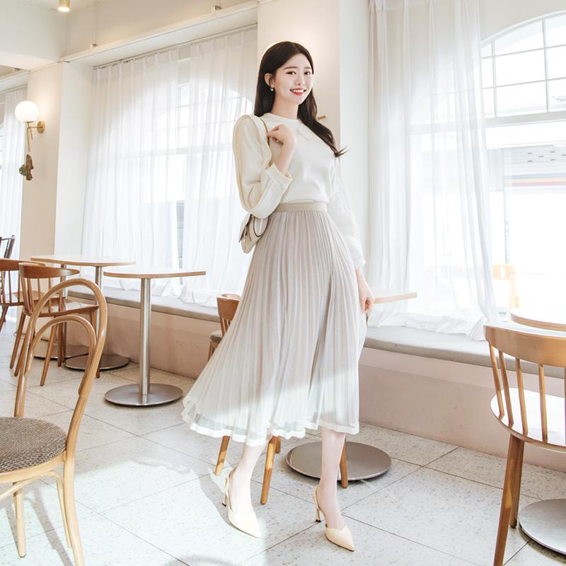 sk3903 청순한 로맨틱 무드를 선사해드리는 롱 벨벳 샤스커트 skirt