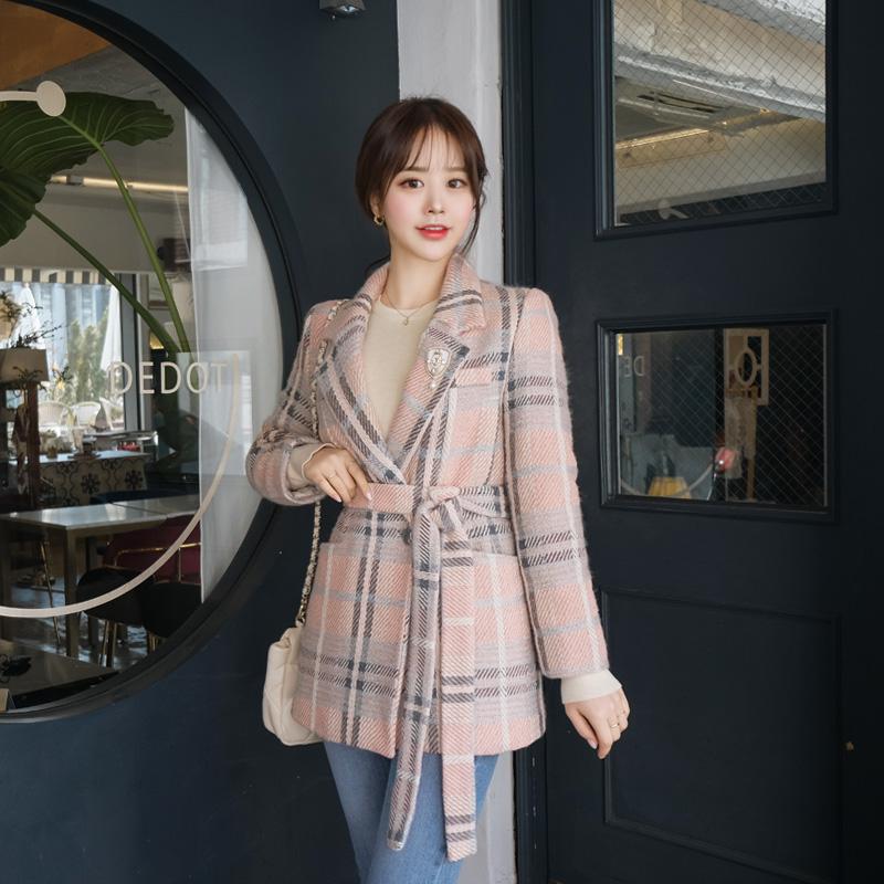 jk1088 로맨틱 파스텔 체크 벨티드 울 누빔 자켓 jacket