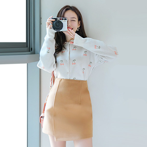 sk3898 따뜻한 울소재의 포켓장식 베이직 무지 미니스커트 skirt