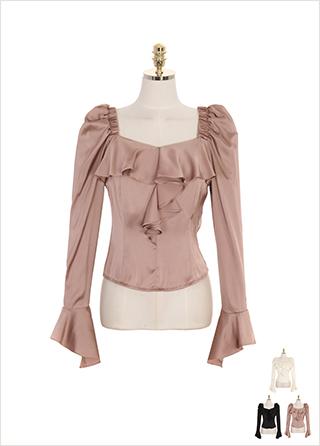 bs4861 드레시한 실크 패브릭의 프릴 포인트 어깨 밴딩 스퀘어넥 블라우스 blouse