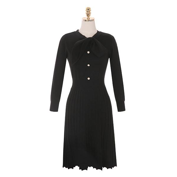 op8354 언밸런스 리본 타이로 포인트를 준 플리츠 니트 미디 원피스 dress