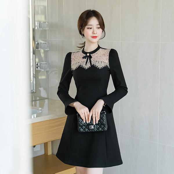 op8378 톡톡한 모직 소재감의 로맨틱 여신무드 레이스 배색 브로치 세트 원피스 dress