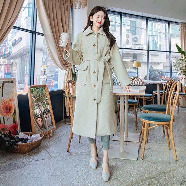 ct1147 울혼방 소재감과 누빔안감으로 포근함 가득담은 벨트세트 루즈핏 롱코트 coat