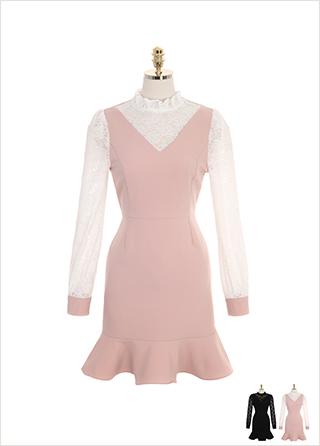 op8420 러블리한 레이스 블라우스를 레이어드한 듯한 페미닌 프릴 미니 드레스 dress