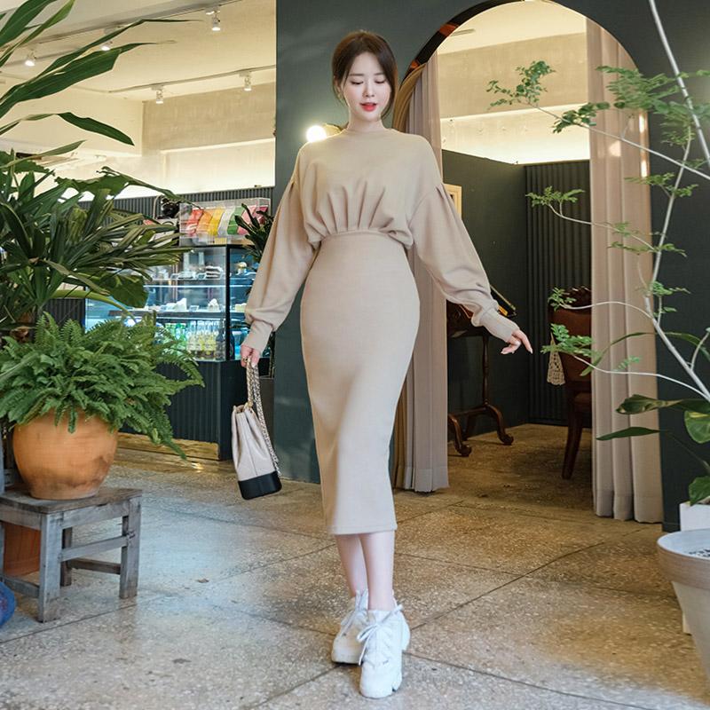 op8445 예쁘게 체형커버 도와주는 셔링 디자인의 볼륨업 스판 롱 원피스 dress