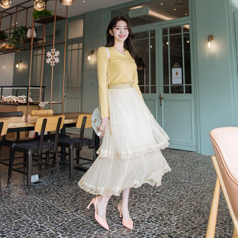 sk3927 로맨틱무드 가득 담은 캉캉 레이스장식 밴딩 플레어 샤스커트 skirt