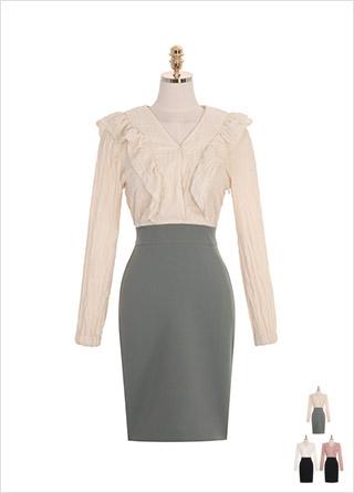 op8472 매력적인 컬러감으로 배색된 주름 블라우스와 H라인 스커트 일체형의 미디 드레스 dress
