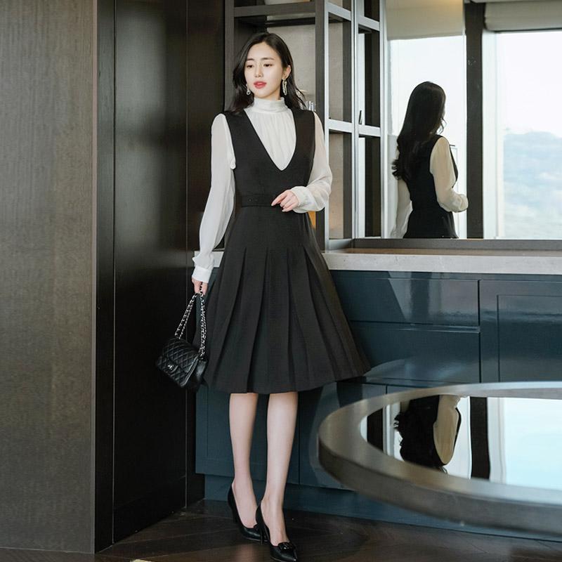 op8479 단아하고 단정한 무드의 벨트세트 플리츠 서스팬더 원피스 dress