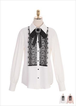 bs4915 블릴블링한 스퀘어 큐빅 브로치를 함께 드리는 레이스 트리밍 블라우스 dress