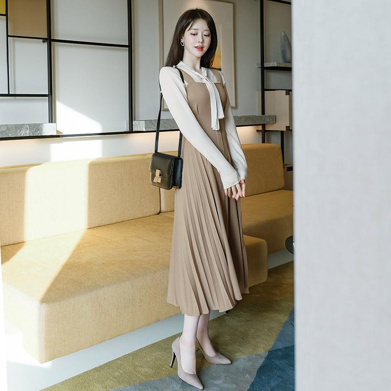 op8488 찰랑이는 주름 디자인으로 여신무드 가득한 서스펜더 A라인 롱 드레스 dress