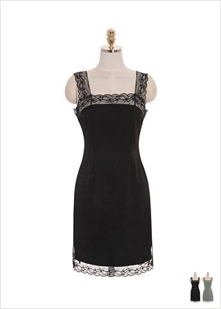op8515 새틴과 레이스 소재로 퀄리티를 한층 높여 제작한 H라인 서스펜더 미니 원피스 dress