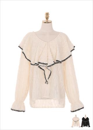 bs4920 러블리한 케이프 카라디자인의 입체적인 수술 패브릭 블라우스 blouse