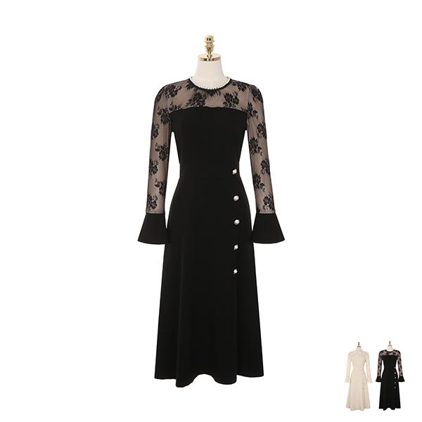 op8498 글램한 무드의 플라워 레이스 배색 진주 포인트 A라인 롱드레스 dress