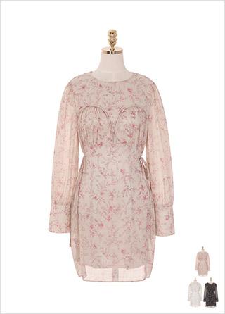 op8544 봄향기를 가득 담은 배색 잔꽃프린팅의 쉬폰 A라인 스트랩 원피스 dress