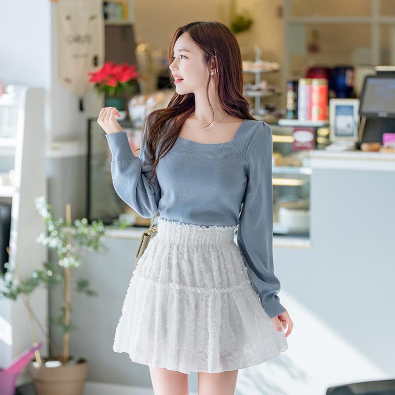 sk3968 입체 날개사패턴 포인트의 허리밴딩 캉캉 플레어 미니스커트 skirt