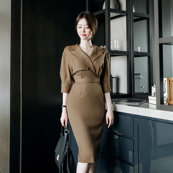 op8607 고급스러움이 묻어나는 트렌치 스타일의 랩 디자인 미디 원피스 dress
