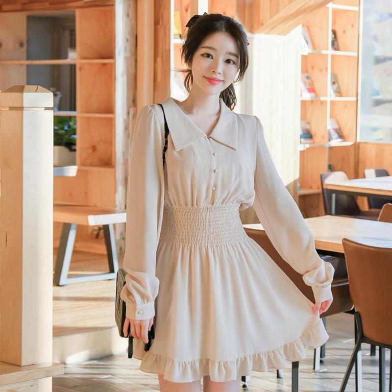 op8598 소녀감성 가득담은 요루패브릭의 스모크밴딩 플레어원피스 dress