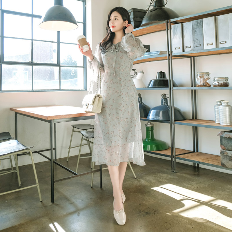 op8602 로맨틱한 플라워 패턴과 여신 무드를 업 시켜줄 맥시 기장의 쉬폰 드레스 dress