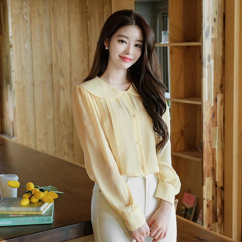 bs4945 러블리한 둥근카라 포인트 핀턱 디테일 쉬폰블라우스 blouse