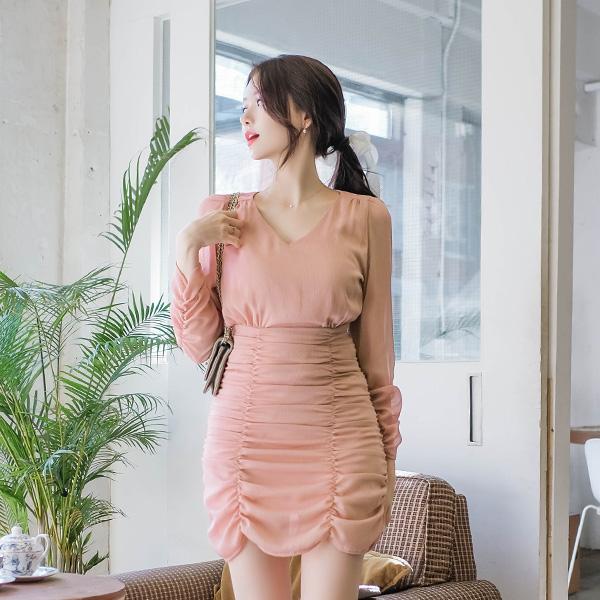 op8634 날씬해보이는 셔링디자인의 여리핏 요루소재 미니원피스 dress