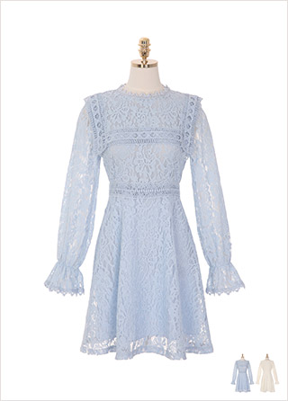 op8590 파스텔 톤의 플라워 레이스 패턴으로 로맨틱한 무드를 완성한 A라인 미디원피스 dress