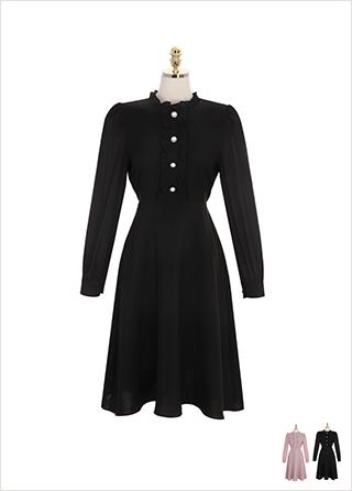 op8611 여성스러운 무드의 프릴과 진주 버튼 포인트로 완성한 A라인 원피스 dress