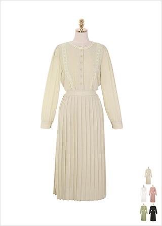 op8619 퓨어한 레이스 디자인의 플리츠 밴딩 롱 플레어 쉬폰 원피스 dress