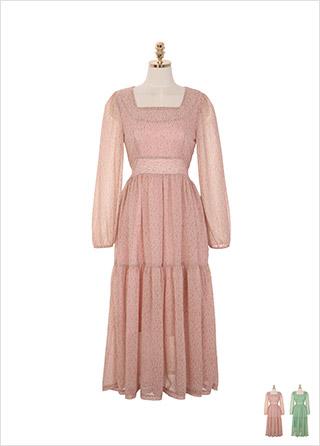 op8656 플라워 패턴과 요루 쉬폰 원단으로 페미닌한 무드를 담은 롱 플레어 원피스 dress