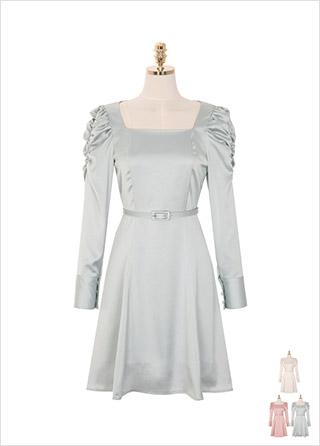 op8659 은은하게 빛나는 원단과 숄더 셔링으로 우아함을 한껏 돋보인 벨트 구성 미디 원피스 dress