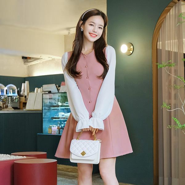 op8643 로맨틱한 무드 듬뿍 담은 컬러배색 포인트의 뒷리본 A라인 미니원피스 dress