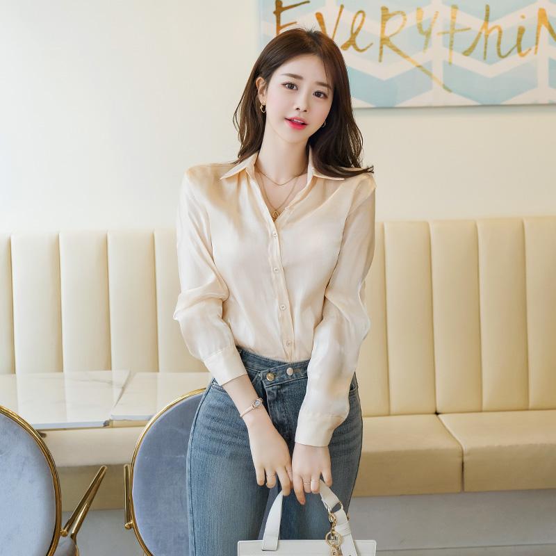 bs4973 고급스러운 광택감이 흐르는 시스루 새틴 셔츠 블라우스 blouse