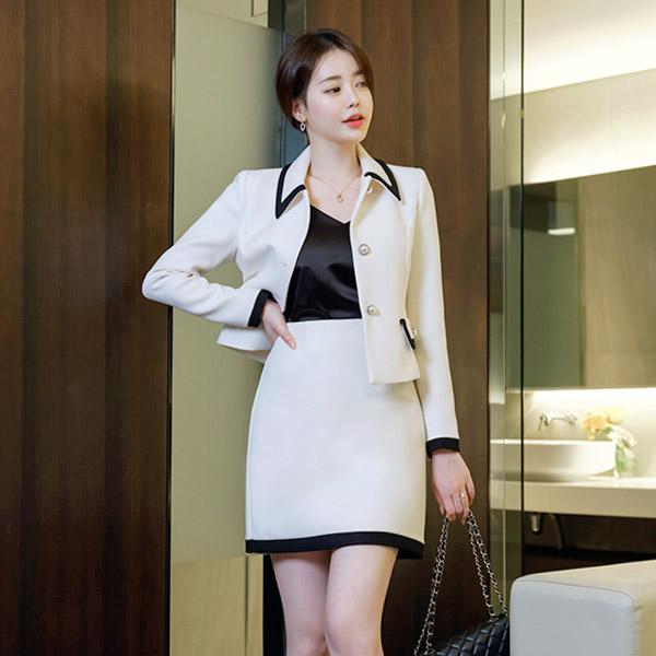 sk4002 클래식한 컬러배색 디자인의 A라인 미니스커트 skirt