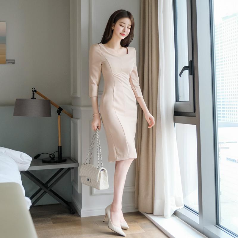 op8676 여성스러운 라인을 극대화시키는 다트장식의 7부소매 다이아넥 원피스 dress