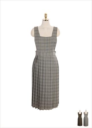 op8694 아기자기한 체크 패턴으로 귀여운 무드의 서스펜더 플리츠 롱 원피스 dress