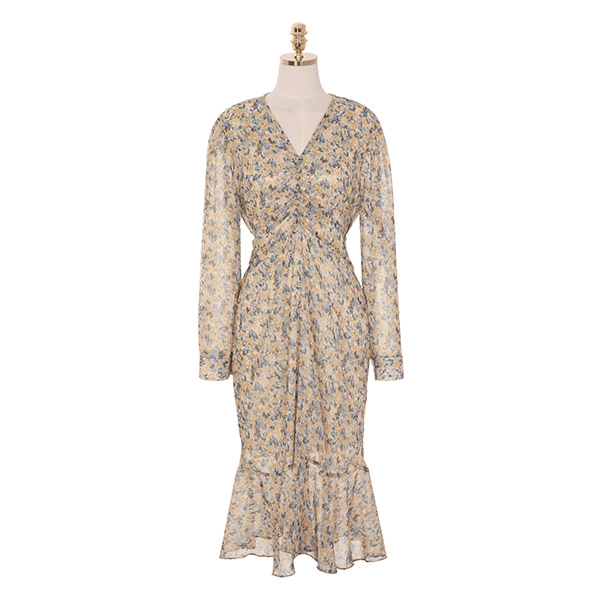 op8718 수채화 물감으로 채색한 듯 매력적인 플라워 패턴의 셔링 롱 원피스 dress