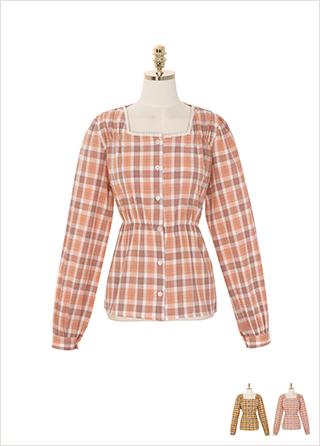 bs4993 소녀감성 가득 담은 체크 패턴의 스퀘어넥 코튼 블라우스 blouse