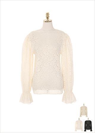 bs4994 레이스 패턴과 물결 보트넥 디자인으로 로맨틱한 무드를 선사하는 블라우스 blouse