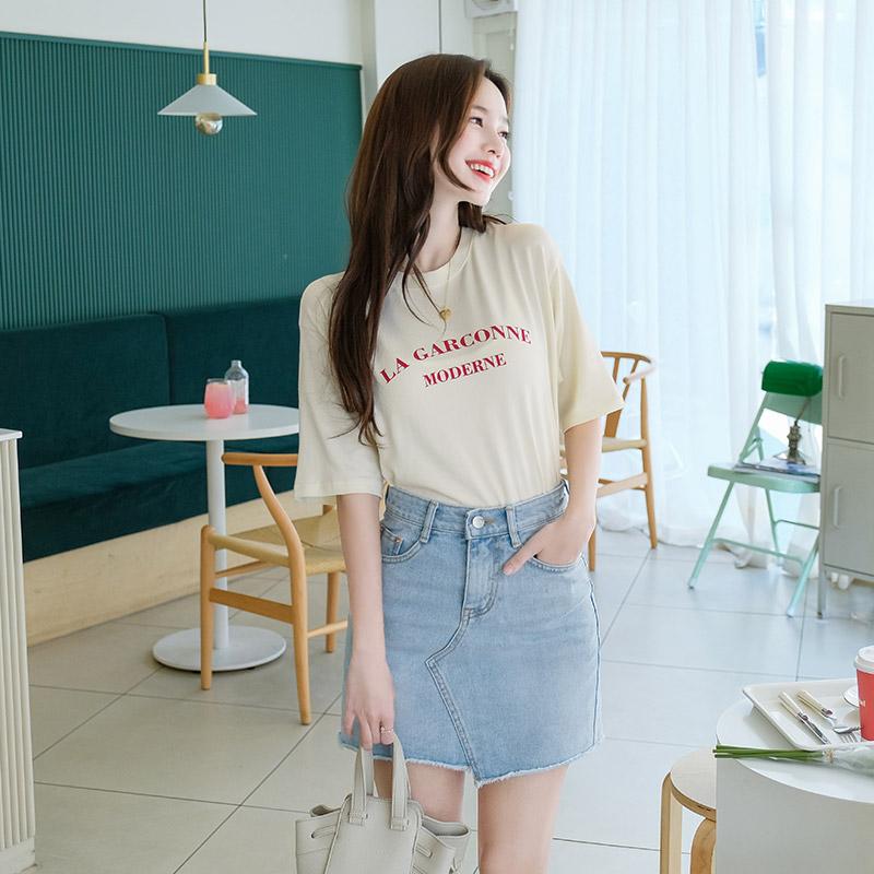 ts1950 レタリングクルーネックTシャツ