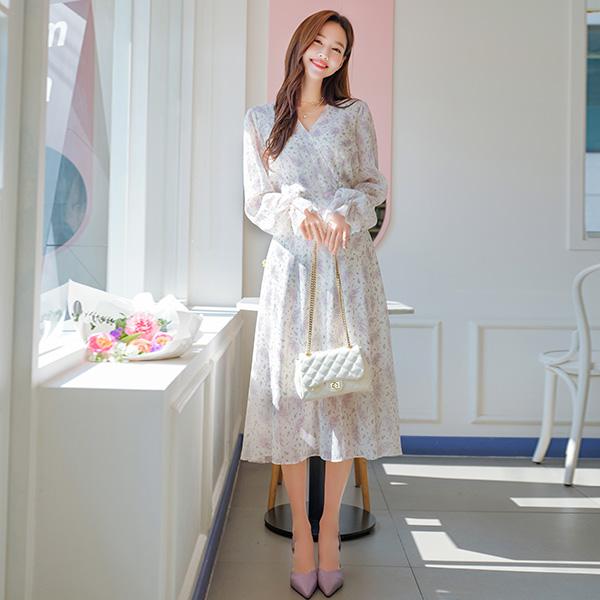 op8722 마치 꽃이 핀 듯 은은한 프릴소매 디자인의 뒷리본 V넥 요루쉬폰 롱원피스 dress